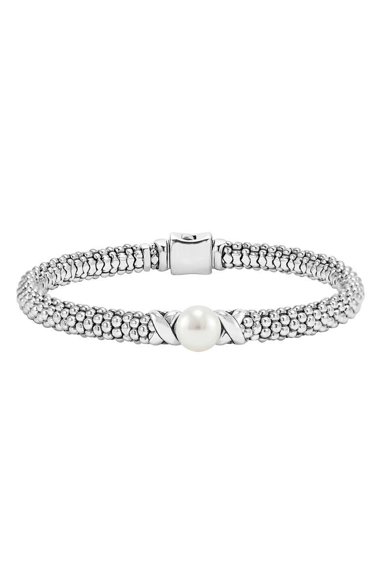 LAGOS Luna Pearl Rope Bracelet, Main, color, SILVER/ PEARL
