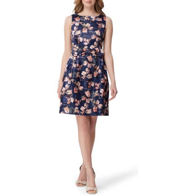 Tahari Metallic Floral Jacquard Fit & Flare Dress, Blue
