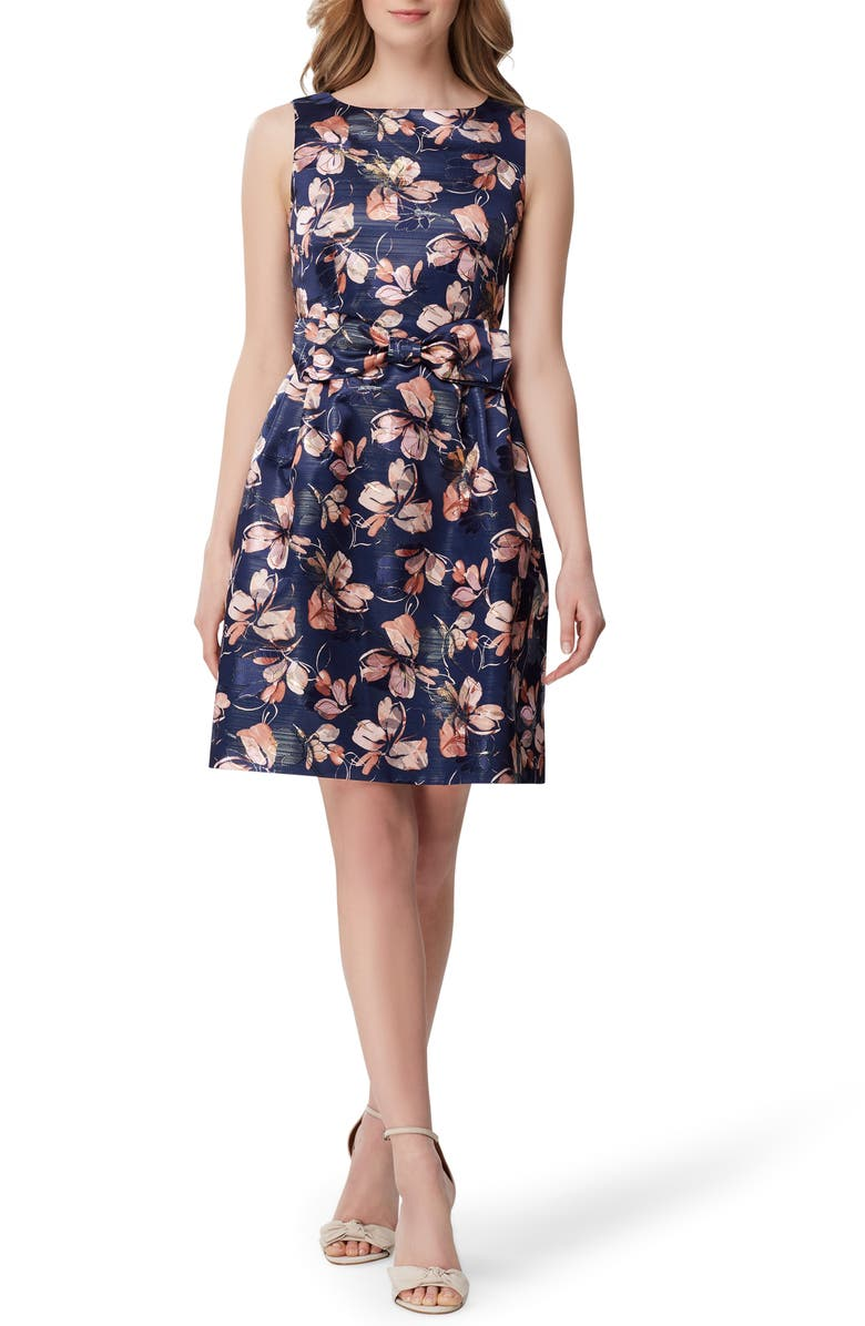 TAHARI Metallic Floral Jacquard Fit & Flare Dress, Main, color, NAVY BLUSH FLORAL