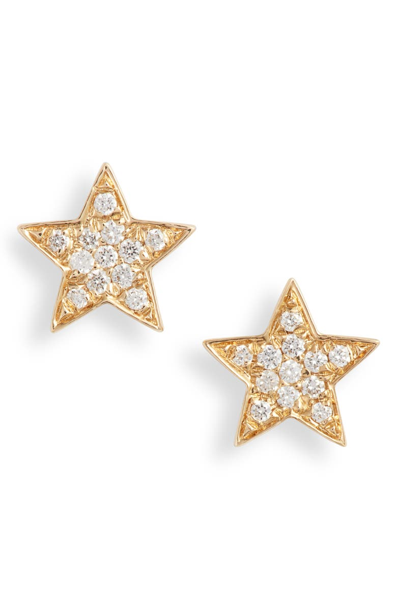 BONY LEVY Simple Obsession Small Star Stud Earrings, Main, color, YELLOW GOLD/ DIAMOND