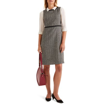 Boden Carrie Herringbone Tweed Wool Dress, Grey