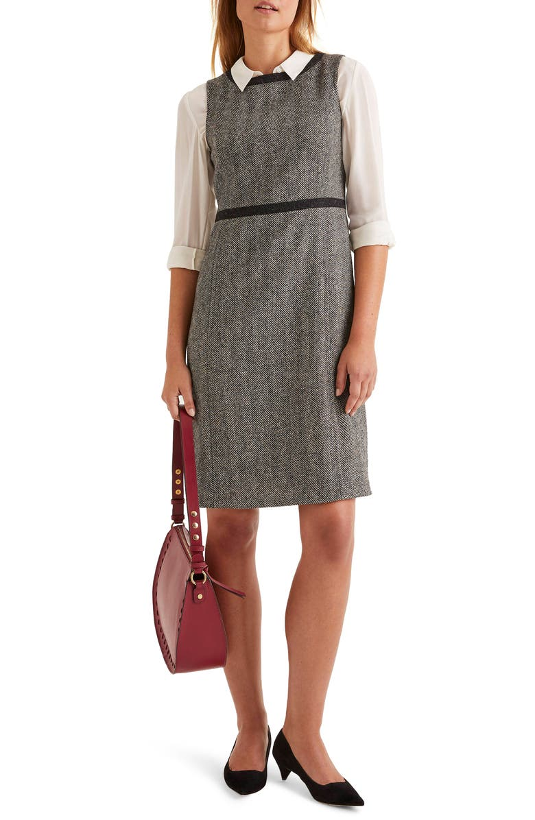 BODEN Carrie Herringbone Tweed Wool Dress, Main, color, GREY HERRINGBONE