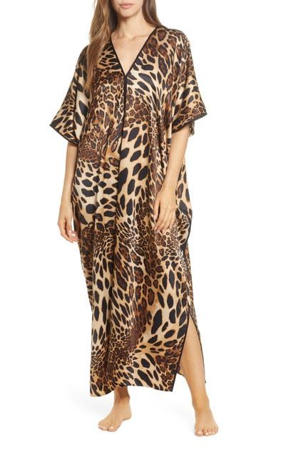 Natori Tops ANIMAL PRINT SATIN CAFTAN