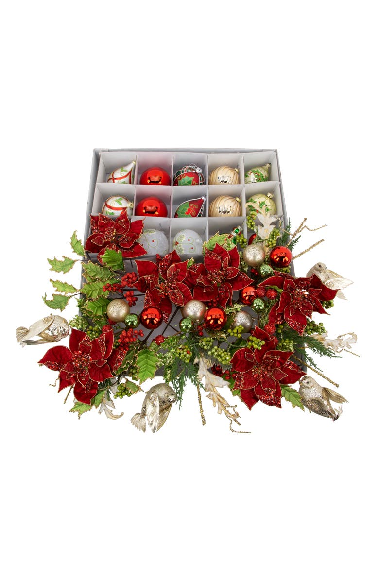 MARK ROBERTS Holly Tradition Set of 30 Ornaments & Faux Holiday Foliage, Main, color, RED MULTI