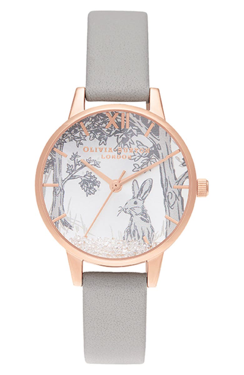 OLIVIA BURTON Snow Globe Leather Strap Watch, 30mm, Main, color, 020