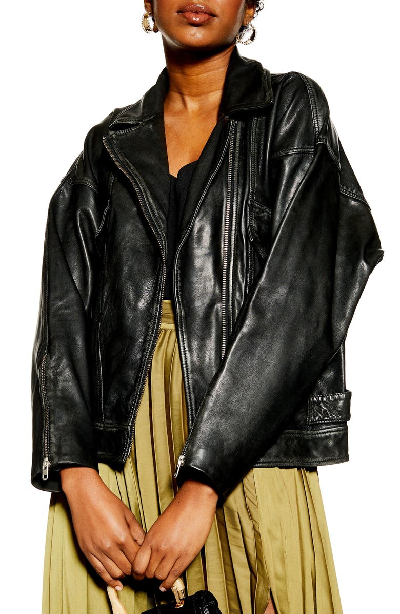 TOPSHOP Oversize Leather Biker Jacket, Main, color, Black