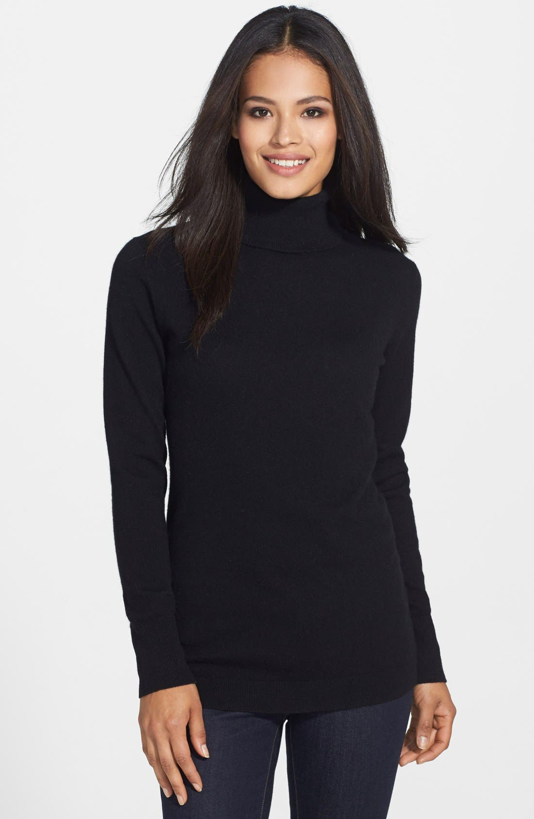 ,                             Long Cashmere Turtleneck Sweater,                             Main thumbnail 1, color,                             001