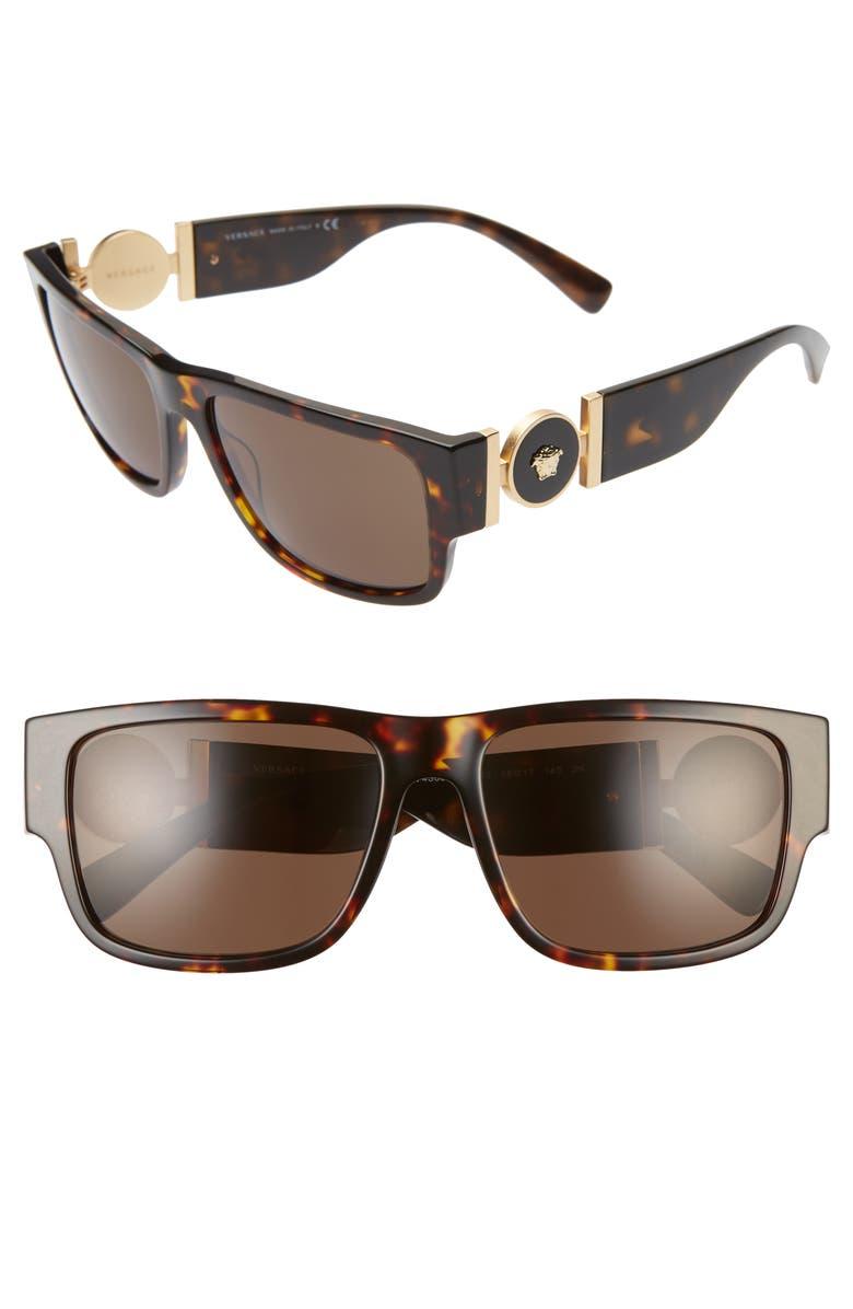 VERSACE Pillow 58mm Rectangle Sunglasses, Main, color, HAVANA/ GREEN SOLID