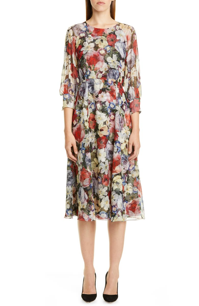 ERDEM Poppy Collage Floral Silk Midi Dress, Main, color, BLACK / MULTI