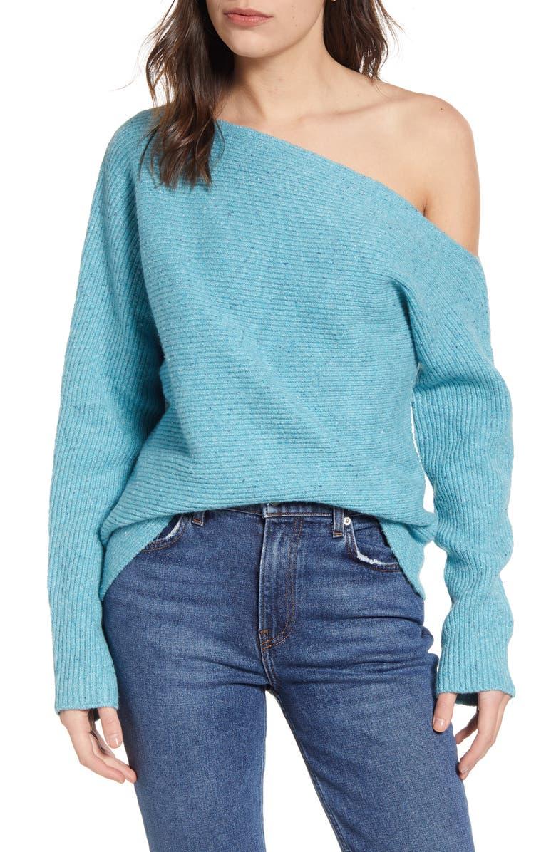 TREASURE & BOND Ribbed One-Shoulder Pullover, Main, color, TEAL SICILY COMB