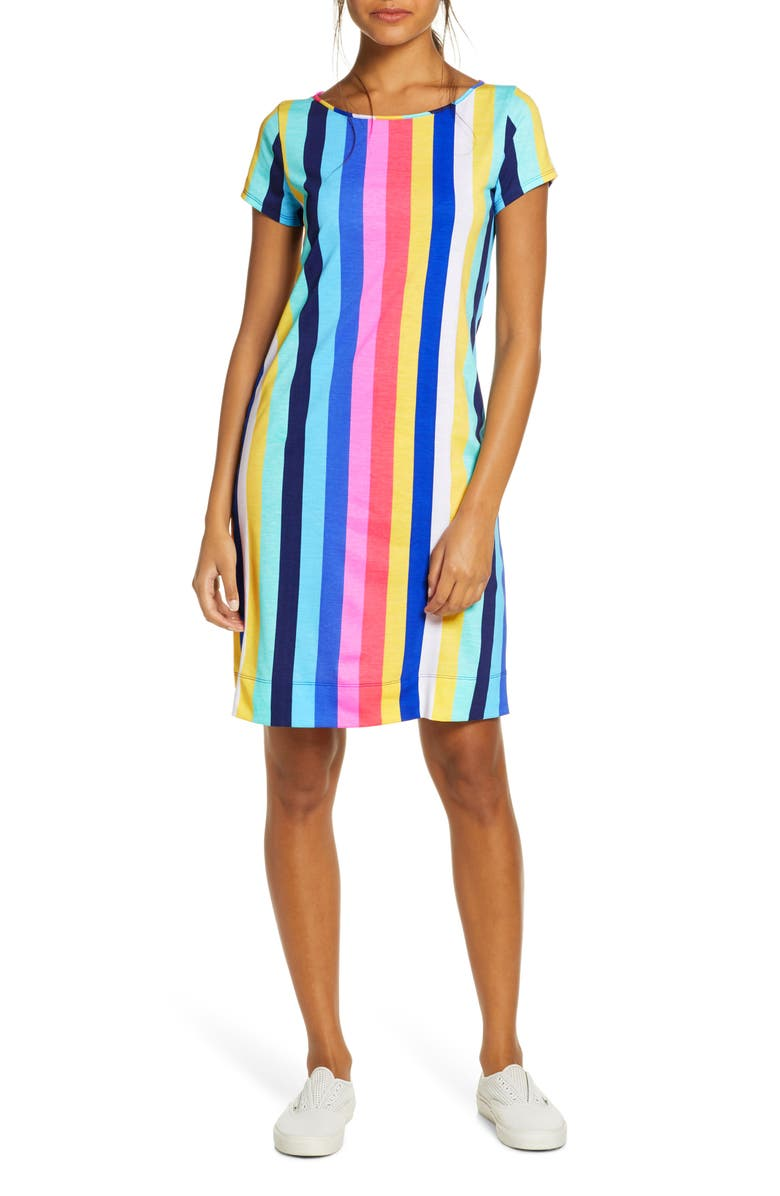 LILLY PULITZER<SUP>®</SUP> Marlowe Vertical Stripe T-Shirt Dress, Main, color, 499