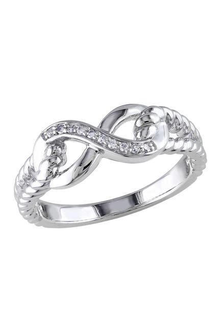 Image of Delmar Sterling Silver Diamond Love Knot Ring - 0.05 ctw