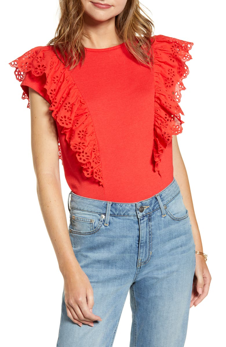 RACHEL PARCELL Eyelet Ruffle Tee, Main, color, 610