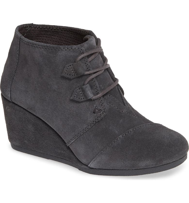 TOMS Kala Wedge Bootie, Main, color, FORGED IRON GREY SUEDE