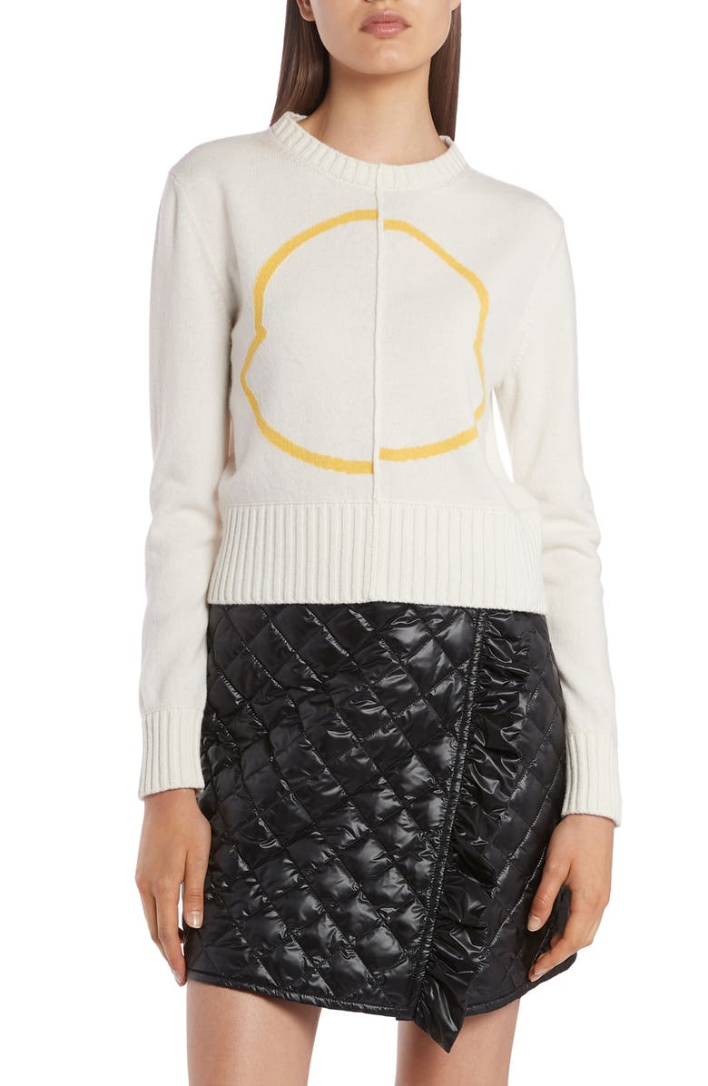 MONCLER Logo Wool & Cashmere Sweater, Main, color, WHITE