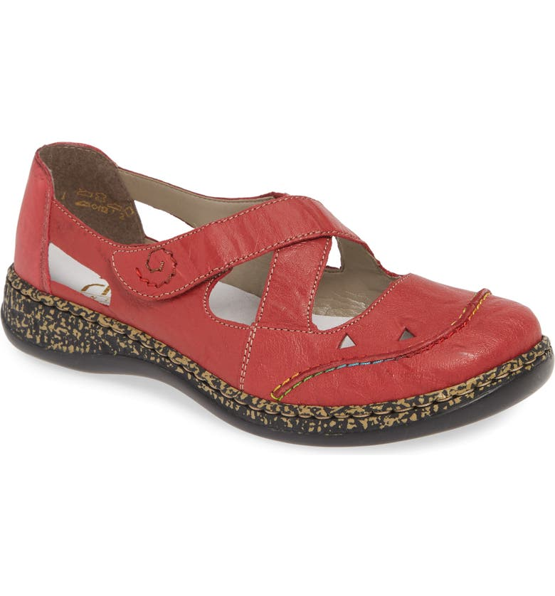 RIEKER ANTISTRESS Daisy Flat, Main, color, RED LEATHER