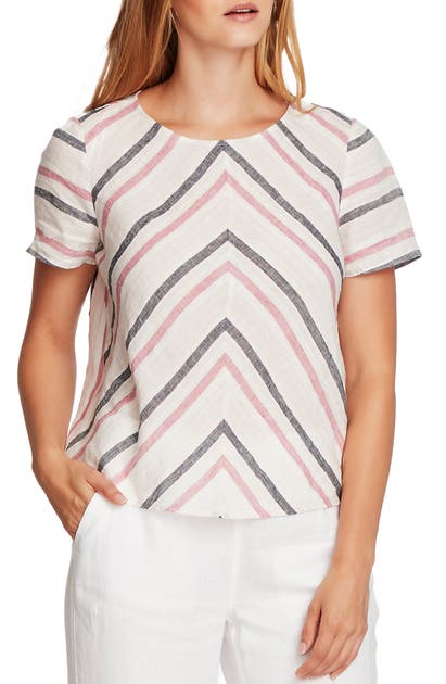Vince Camuto Shorts CANYON STRIPE SHORT SLEEVE LINEN TOP