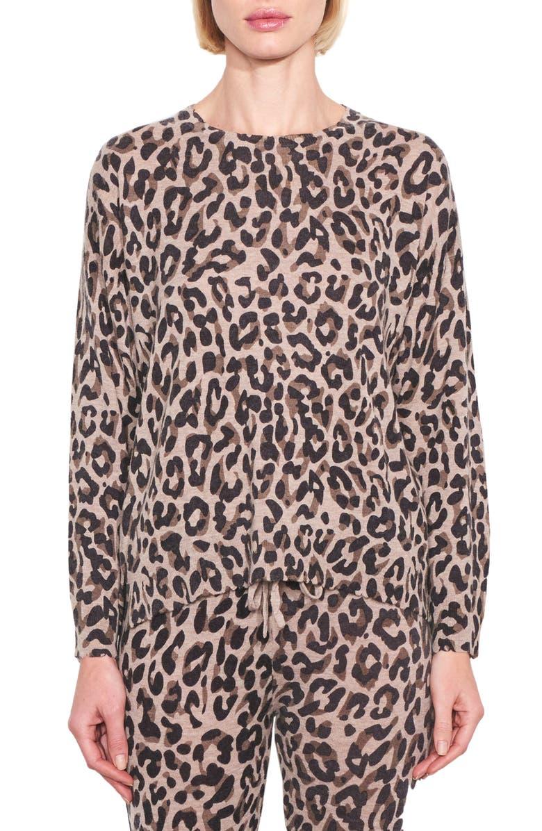 SUNDRY Leopard Print Crewneck Sweater, Main, color, 250