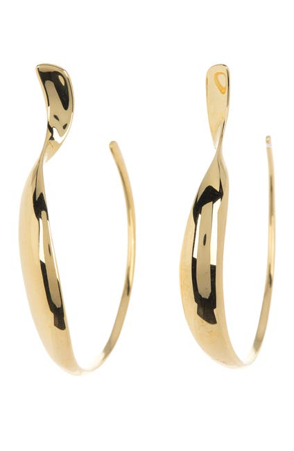 Image of Ippolita 18K Gold Classico Medium Twisted Open Hoop Earrings