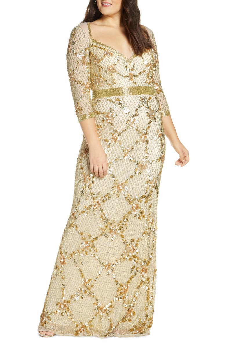 MAC DUGGAL Sequin & Bead Sweetheart Neck Gown, Main, color, LIGHT GOLD