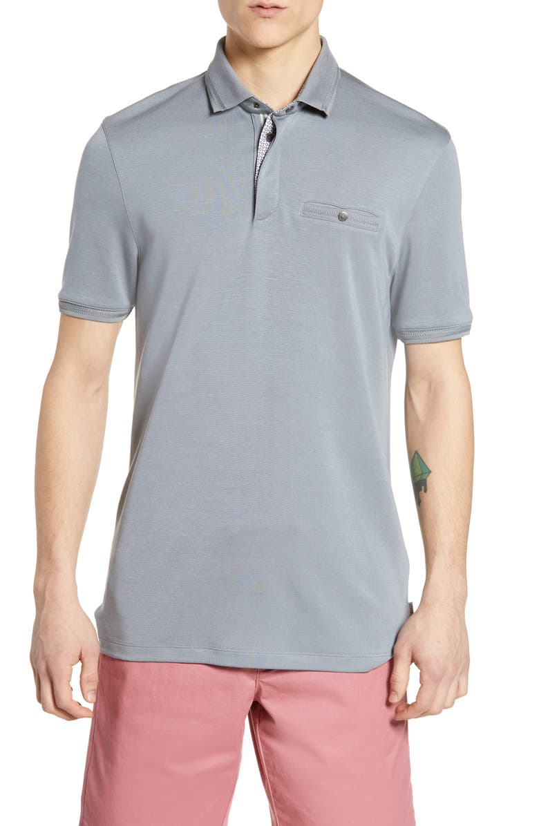 TED BAKER LONDON Plaza Slim Fit Polo, Main, color, GREY
