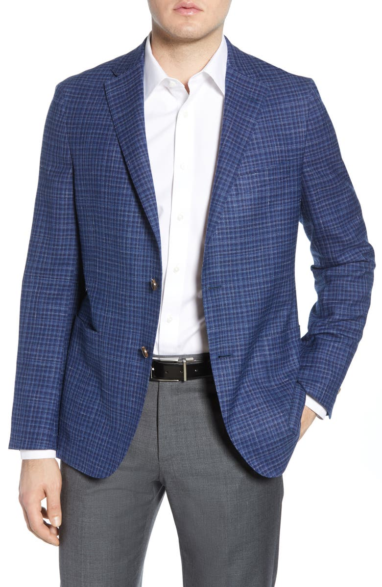 HICKEY FREEMAN Classic Fit Check Wool Blend Sport Coat, Main, color, NAVY