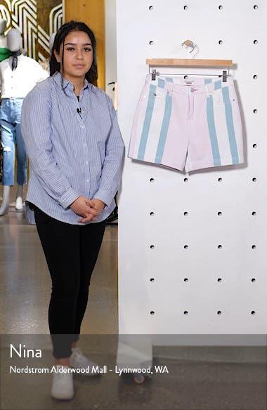 High Waist Stripe Denim Mom Shorts, sales video thumbnail