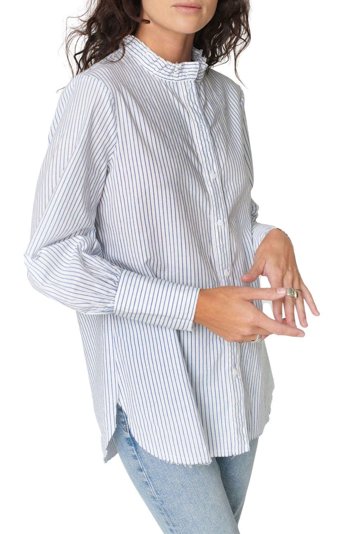 Image of Stateside Linen Ruffle Blouson Shirt