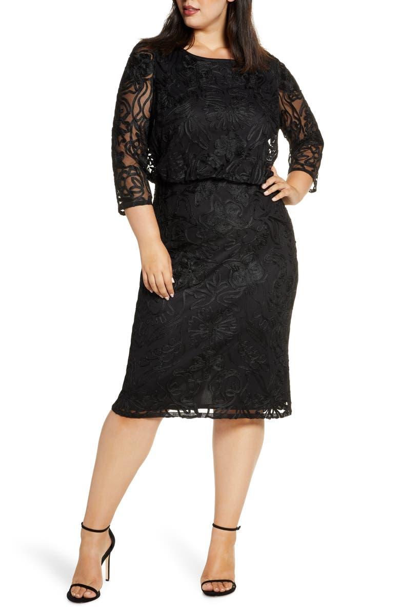 JS COLLECTIONS Soutache Embroidered Blouson Dress, Main, color, BLACK