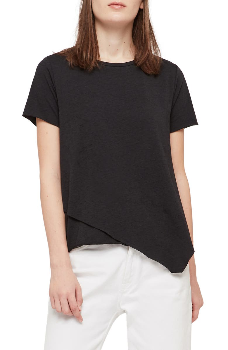 ALLSAINTS Daisy Devo Asymmetrical Tee, Main, color, 005