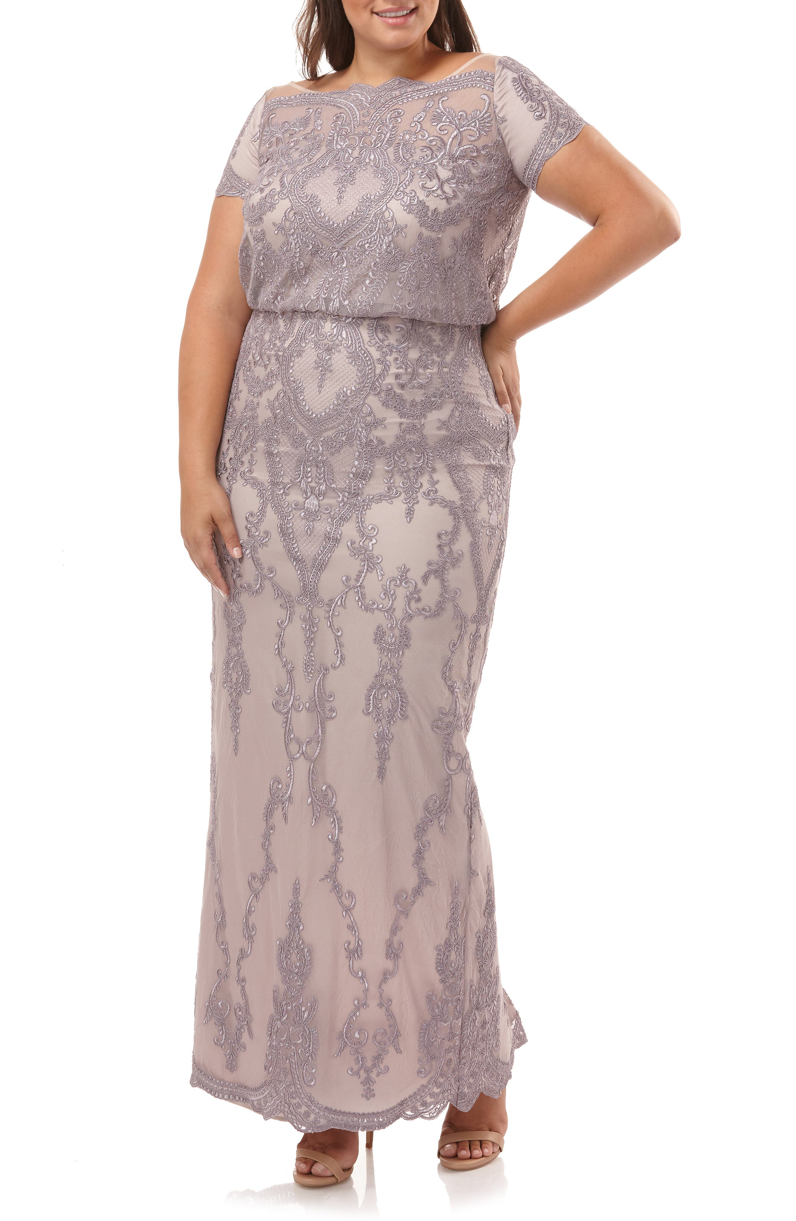 ,                             Scallop Embroidered Blouson Evening Dress,                             Alternate thumbnail 6, color,                             DUSTY LAVENDER