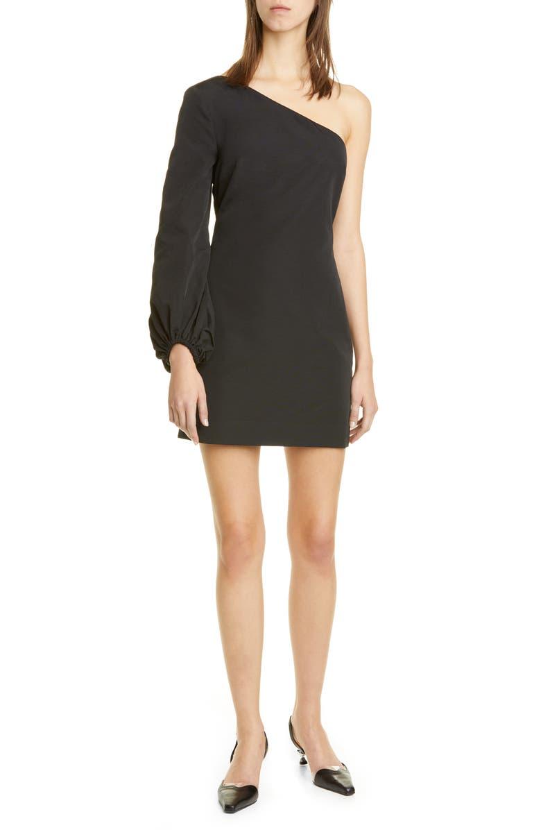 STAUD Paula One-Shoulder Minidress, Main, color, BLACK