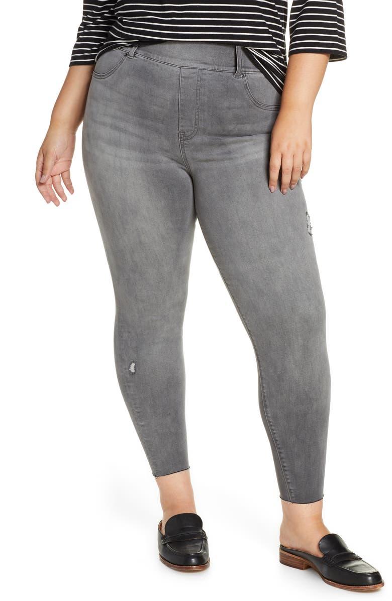 SPANX<SUP>®</SUP> Distressed Skinny Denim Leggings, Main, color, VINTAGE GRAY