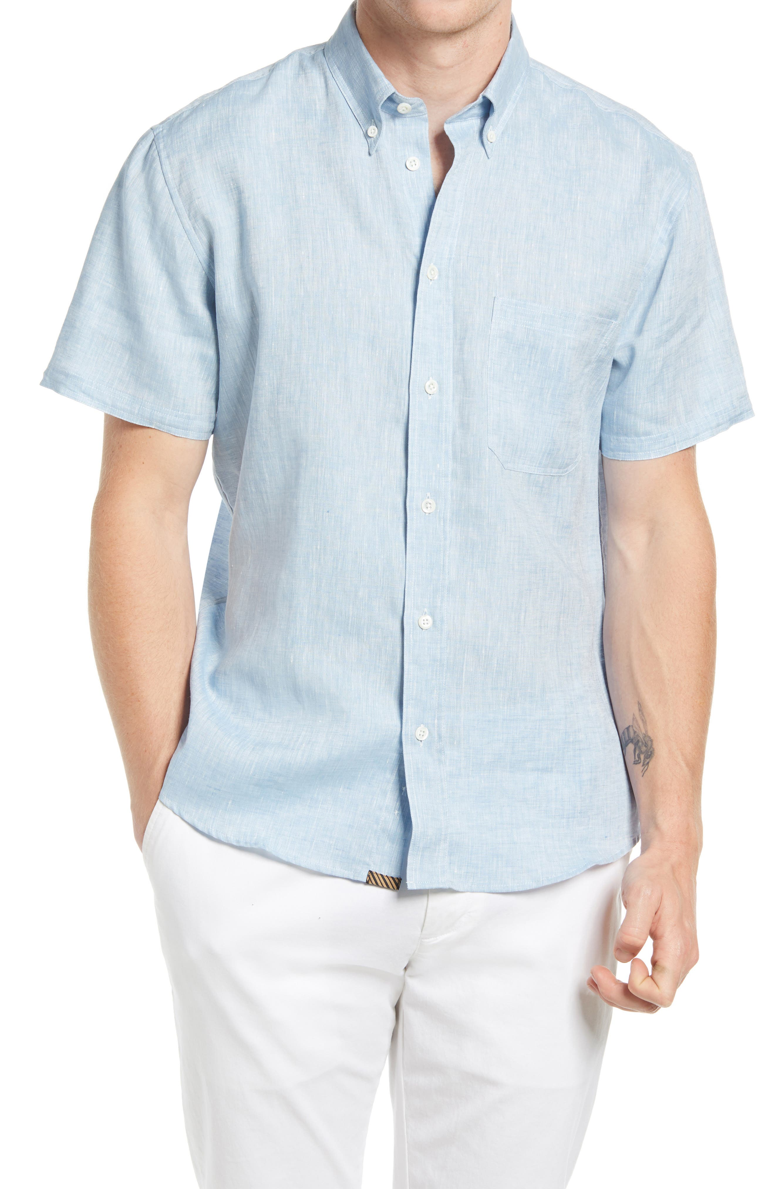 Tuscumbia Standard Fit Short Sleeve Button-Down Slub Linen Shirt