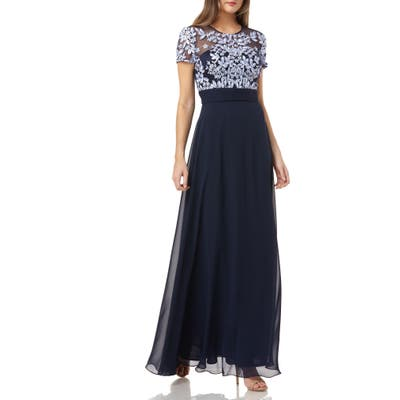 Petite Js Collections Embroidered Illusion Bodice Gown, Blue