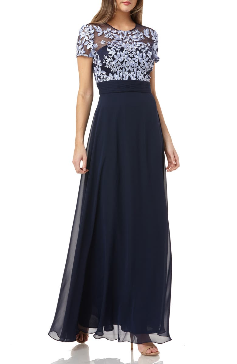 JS COLLECTIONS Embroidered Illusion Bodice Gown, Main, color, PERIWINKLE NAVY
