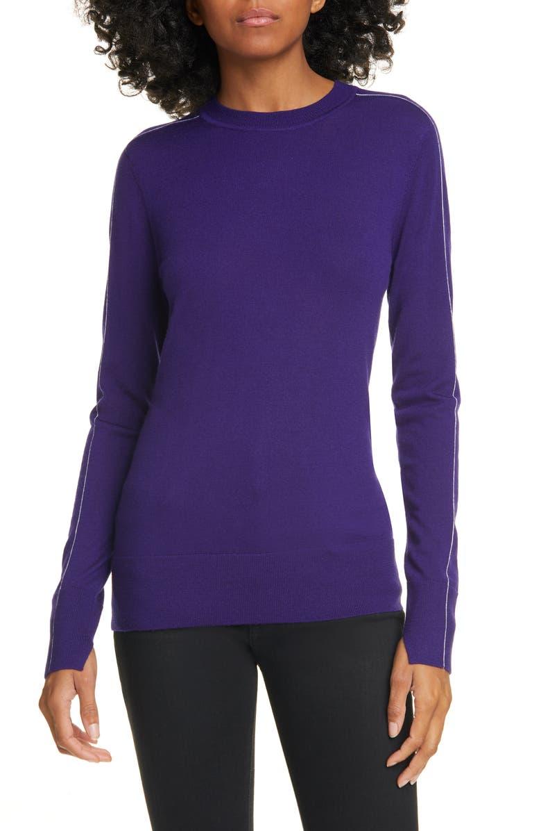 JASON WU Contrast Stripe Merino Wool Sweater, Main, color, TANZANITE