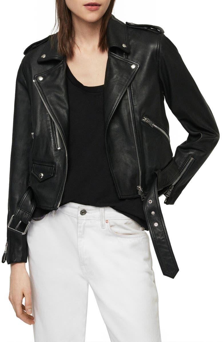 ALLSAINTS Lexi Lambskin Leather Biker Jacket, Main, color, 001