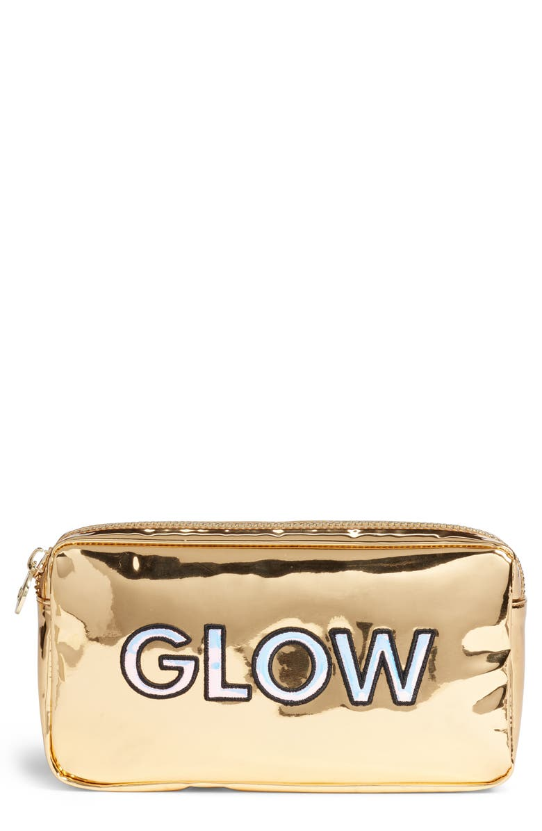 STONEY CLOVER LANE Glow Small Gold Patent Cosmetic Bag, Main, color, 710