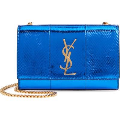 Saint Laurent Small Kate Snakeskin Chain Crossbody Bag - Blue