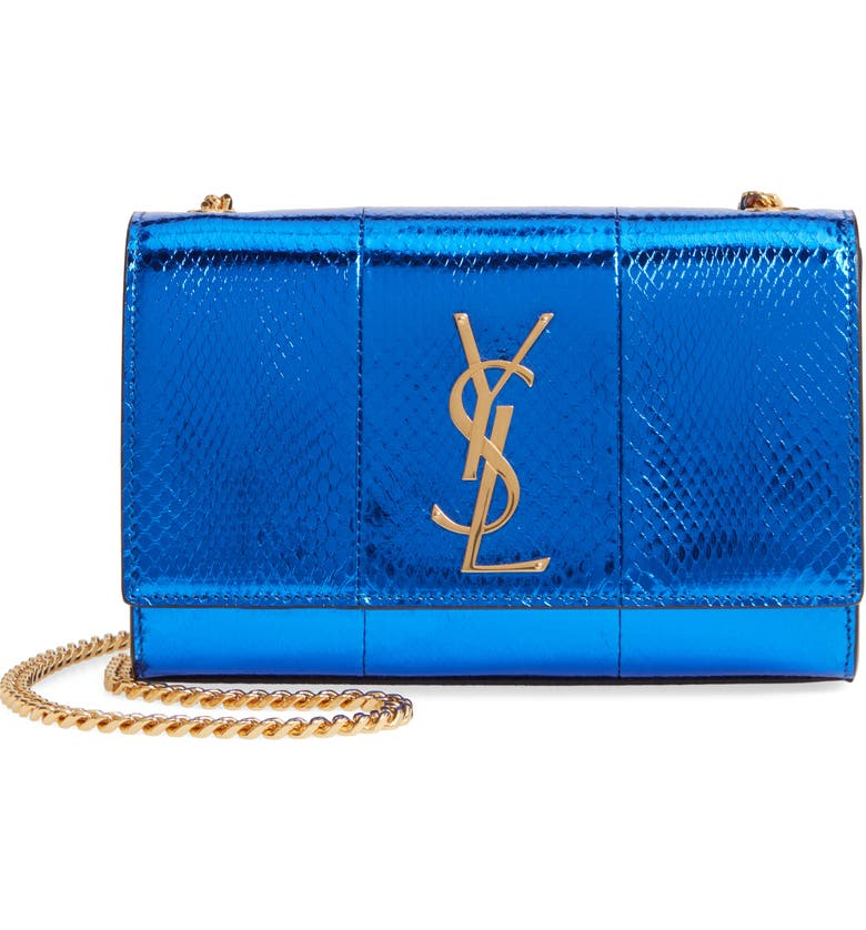 SAINT LAURENT Small Kate Snakeskin Chain Crossbody Bag, Main, color, 400