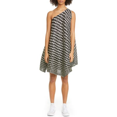 Pleats Please Issey Miyake Grid Print Pleated One-Shoulder Dress, (fits like 8 US) - Black