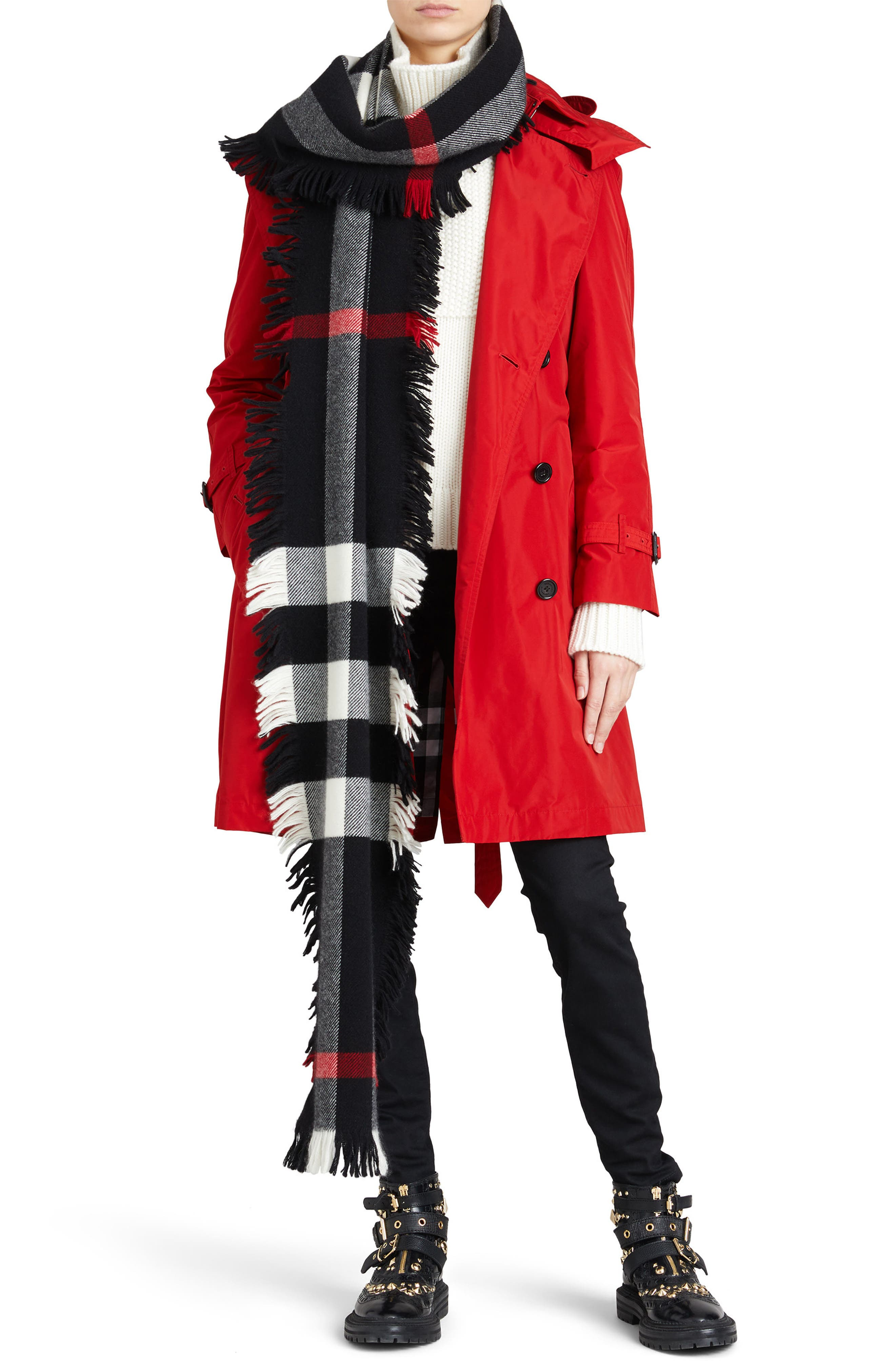 ,                             Amberford Taffeta Trench Coat with Detachable Hood,                             Alternate thumbnail 7, color,                             MILITARY RED