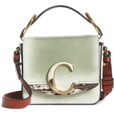 Chloe Mini C Leather Shoulder Bag - Green