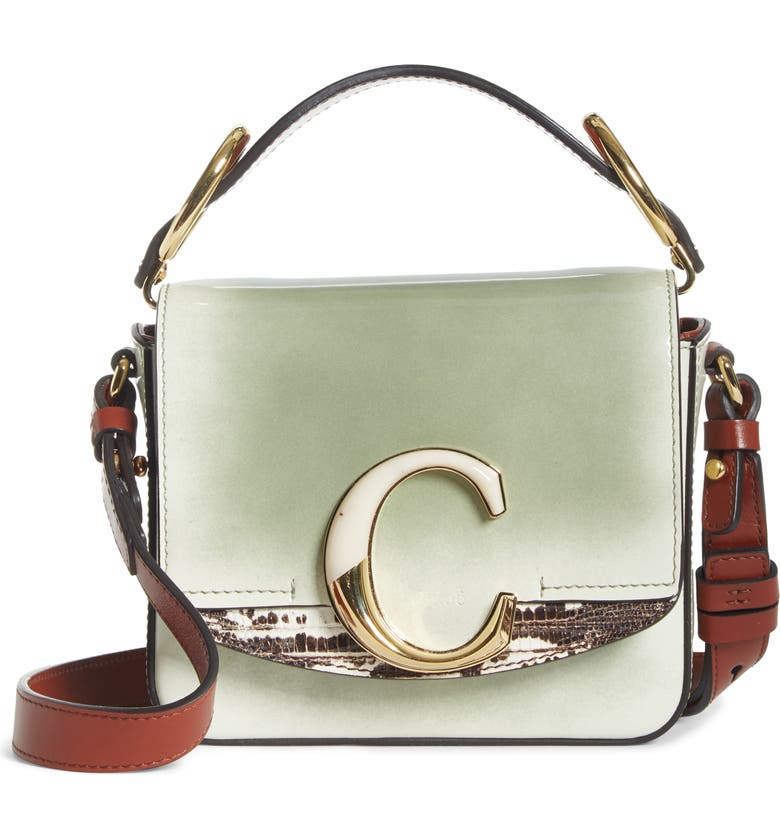 CHLOÉ Mini C Leather Shoulder Bag, Main, color, ANTIQUE GREEN