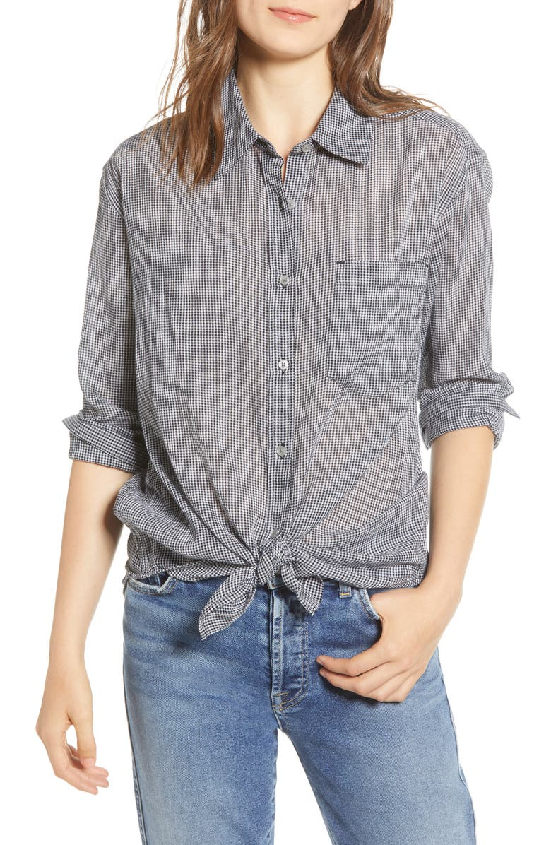 7 FOR ALL MANKIND<SUP>®</SUP> Tie Front Shirt, Main, color, 005