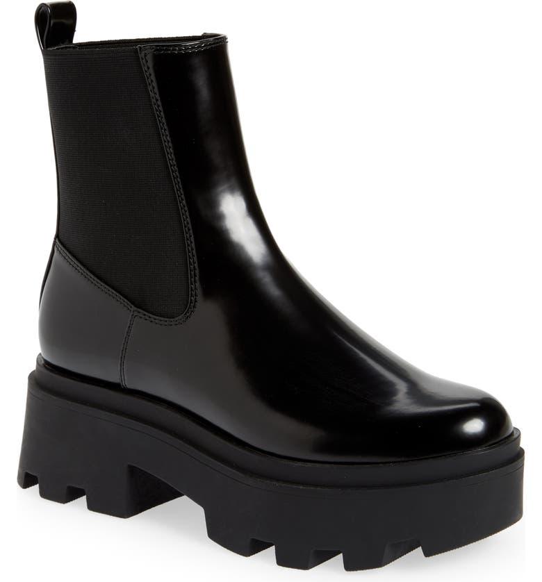 OPEN EDIT Iris Lug Chelsea Boot, Main, color, BLACK