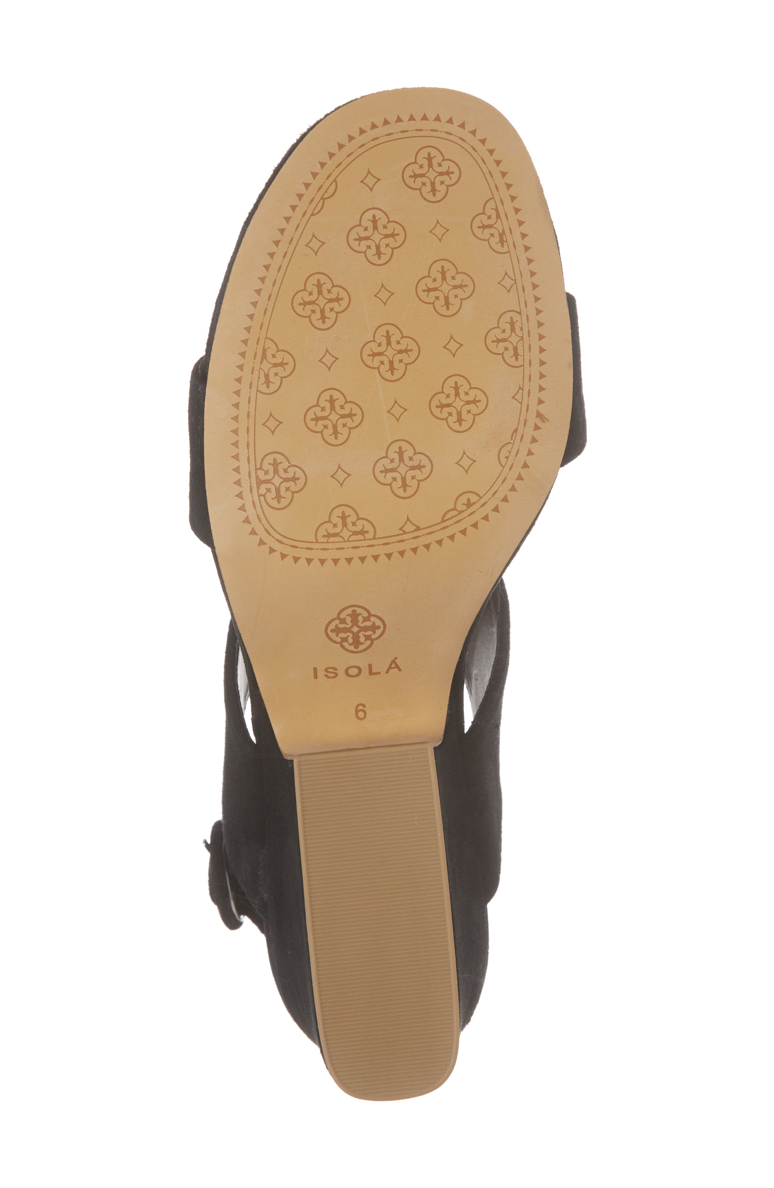 ,                             Isola Landra Block Heel Sandal,                             Alternate thumbnail 6, color,                             BLACK SUEDE
