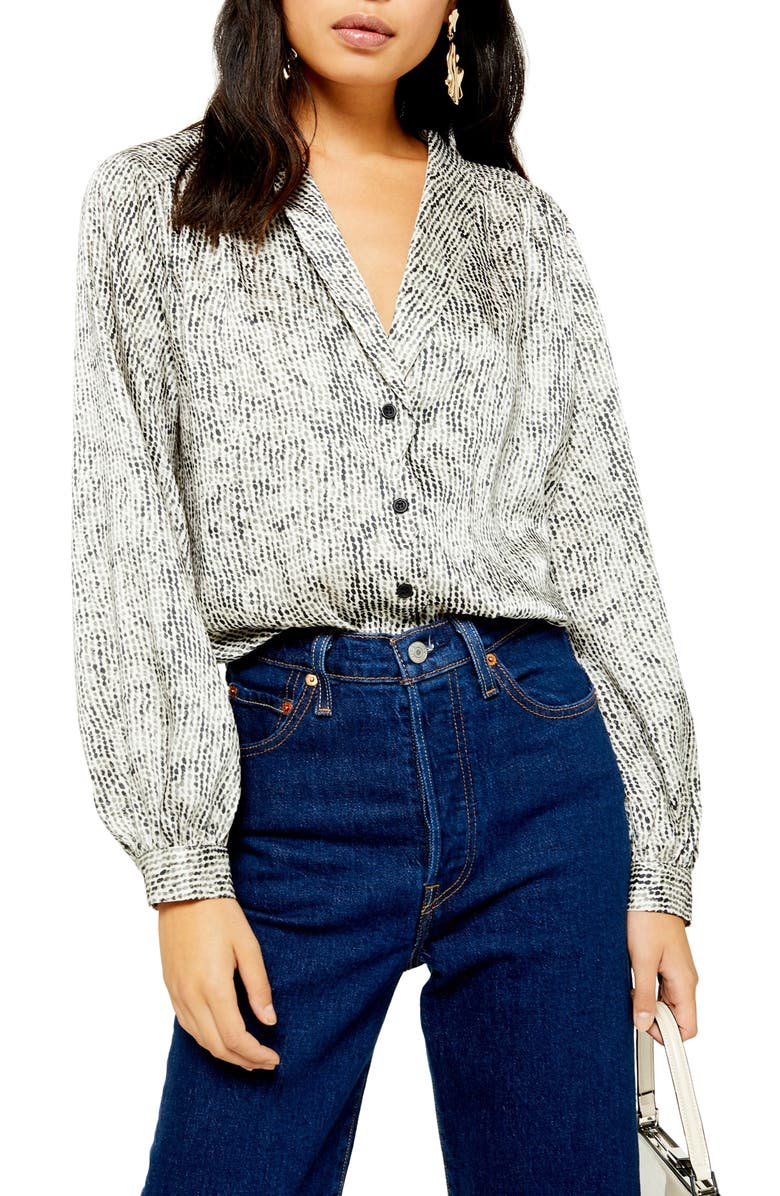 TOPSHOP Smudge Spot Scallop Button-Up Shirt, Main, color, WHITE MULTI
