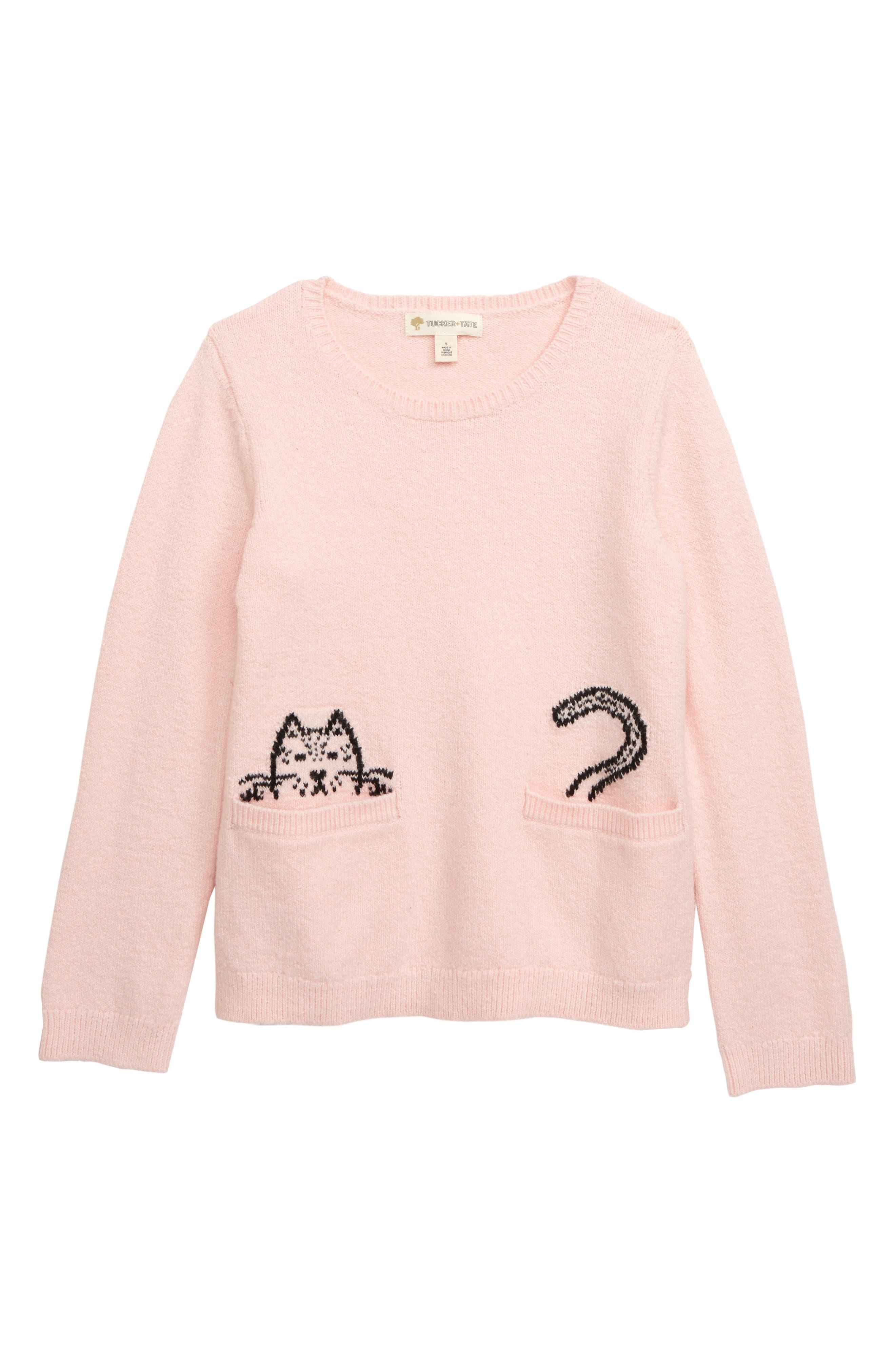 Toddler Girls Tucker  Tate Cat Pocket Sweater Size 3T  Pink